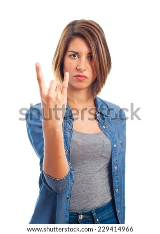 young cool woman disagree gesture - stock photo
