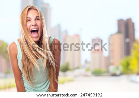 young cool woman shouting - stock photo