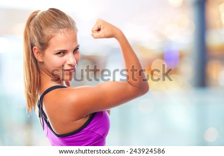 young cool woman strong sign - stock photo