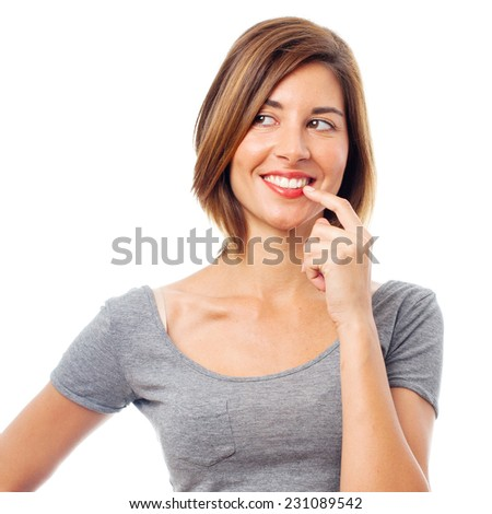 young cool woman thinking - stock photo
