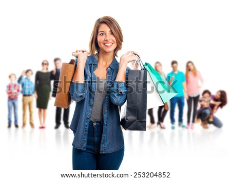 young cool woman with shopping bags