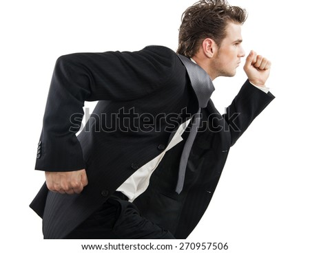 Young corporate businessman in suit running over white background. - stock photo
