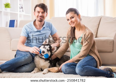 Young couple are playing with their puppy dog Husky. - stock photo