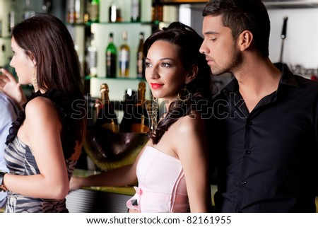 young couple bar counter having fun smile