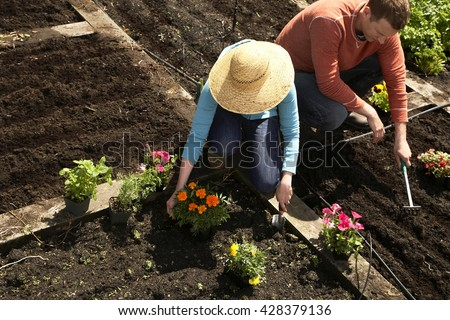 young couple crouching in their garden and planting flowers - stock photo