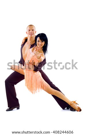 young couple dancing latino over white  - stock photo