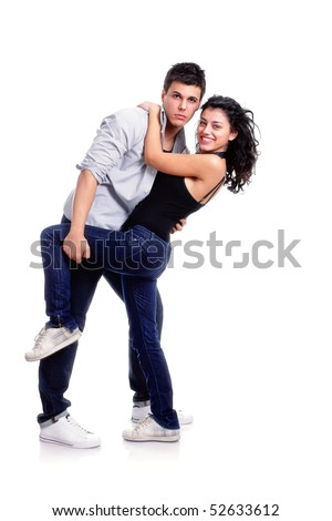 young couple dancing pose, isolated on white - stock photo