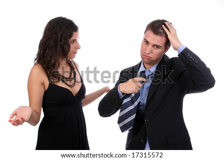 young couple discussing, isolated over white background - stock photo