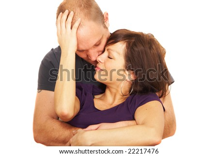 Young couple embracing each other. Very sensual picture. Isolated over white.
