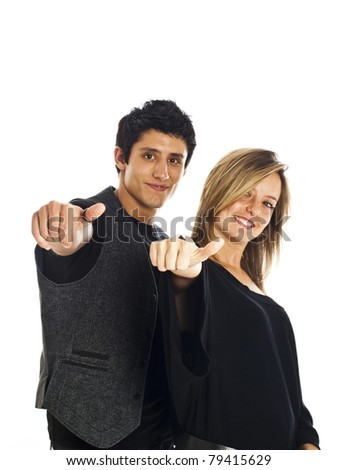 Young couple expressing positivity isolated on white
