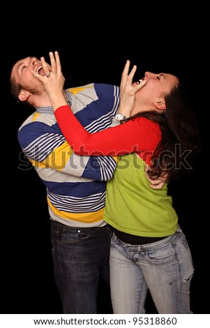 young couple fighting - stock photo