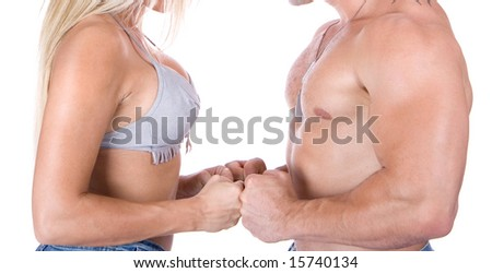 Young couple flirting - stock photo