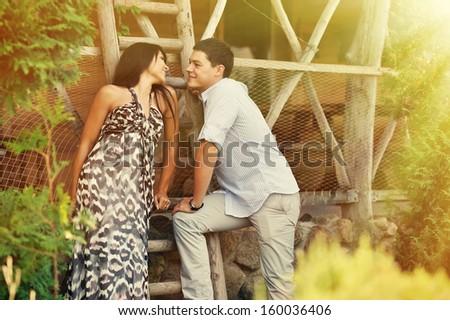 Young couple flirting  - stock photo