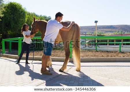Young couple grooming and scrubbing a brown female horse at the stables of a horse riding club, preparing it for a ride.