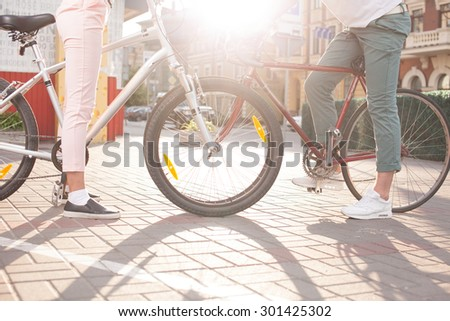 Young couple have bike riding - stock photo