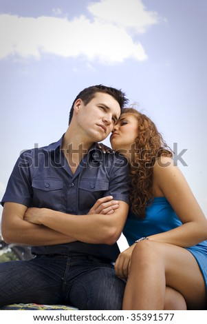 Young couple have outdoor dating.