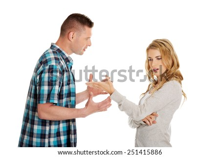 Young couple having an argue - stock photo