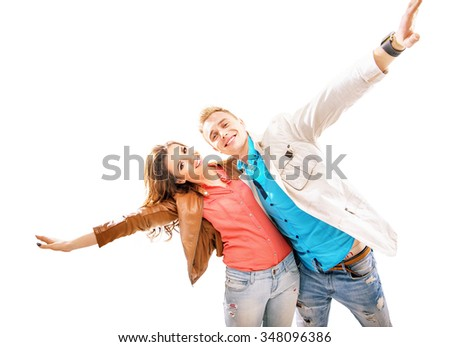 Young couple having fun together - stock photo