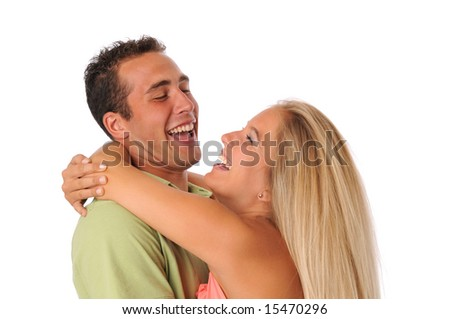 Young couple having fun while hugging isolated on white - stock photo