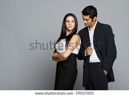 Young couple having problems and and between each other - stock photo