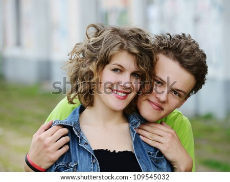 Young couple hunging around - stock photo