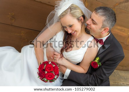 Young couple in a romantic hug - stock photo