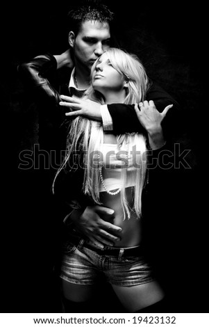 young couple in love, black and white - stock photo