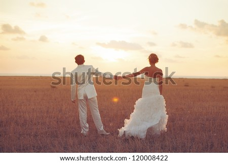 Young couple in love bride and groom posing in a field with yellow grass on sunset background in their wedding day in the summer. Series. - stock photo