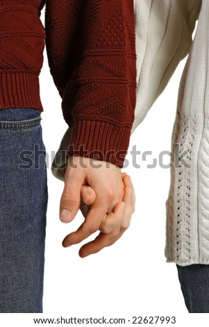 Young couple in love, holding hands against a white background.