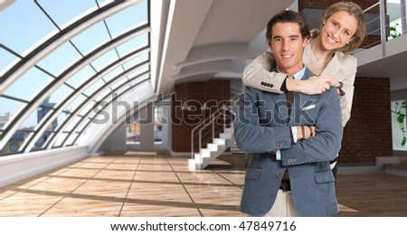 Young couple in love in a luxurious loft - stock photo