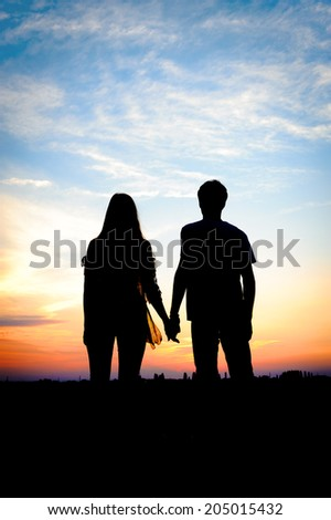 Young couple in love outdoor - stock photo
