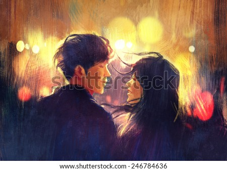 young couple in love outdoor.digital painting - stock photo