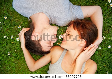 Young couple in love outdoors