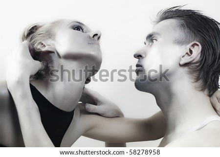 young couple in love with the brilliant makeup