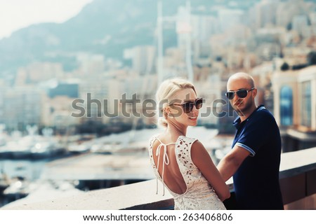 young couple in Monaco, Monte carlo, in love - stock photo