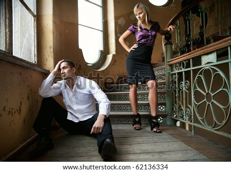 Young couple in separation - stock photo