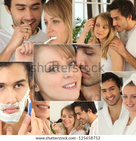 young couple in the bathroom - stock photo