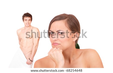 Young couple in towels isolated over white background