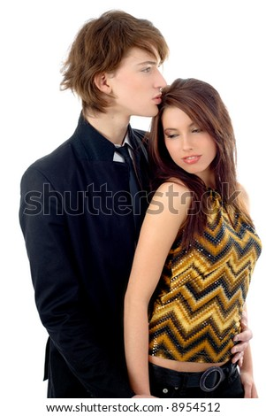 Young couple isolated on white background - stock photo