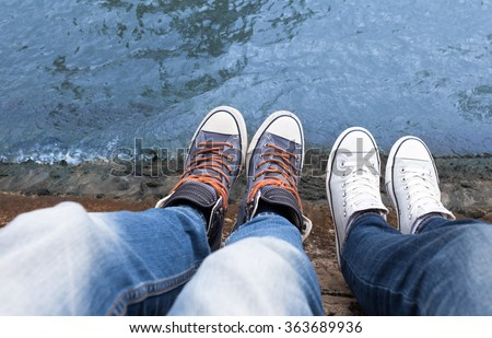Young couple just hanging out.  - stock photo
