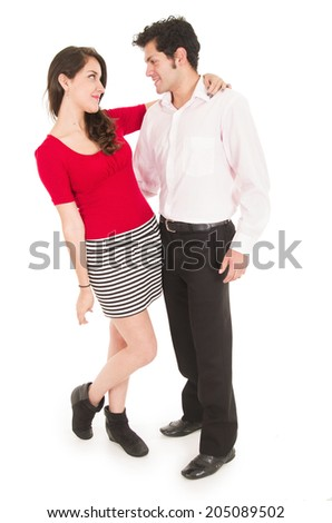 young couple looking at each other in love fullbody isolated over white - stock photo