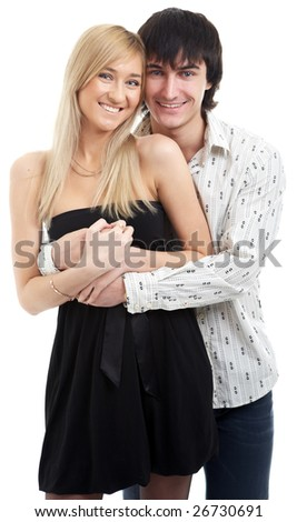young couple man and woman on white background