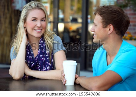 Young couple on a date - stock photo
