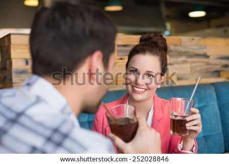 Young couple on a date at the cafe - stock photo
