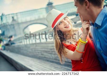 Young couple on the street - stock photo