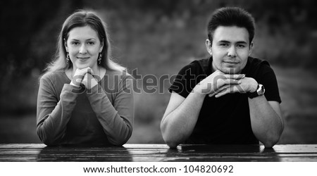 Young couple portrait. Black and white. - stock photo