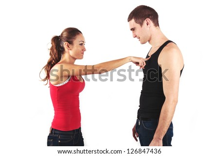 Young couple quarreling isolated on white background. - stock photo