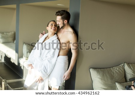 Young couple relax and enjoy in the room - stock photo