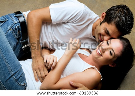 Young couple sharing a romantic moment - stock photo