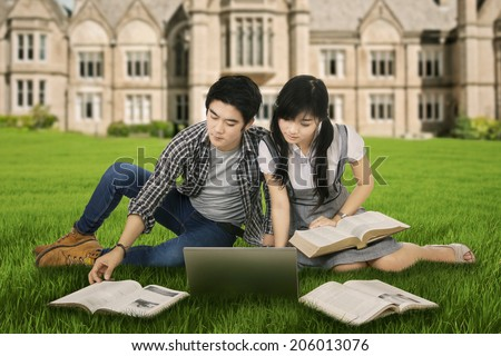 Young couple sitting on grass while studying with laptop - stock photo